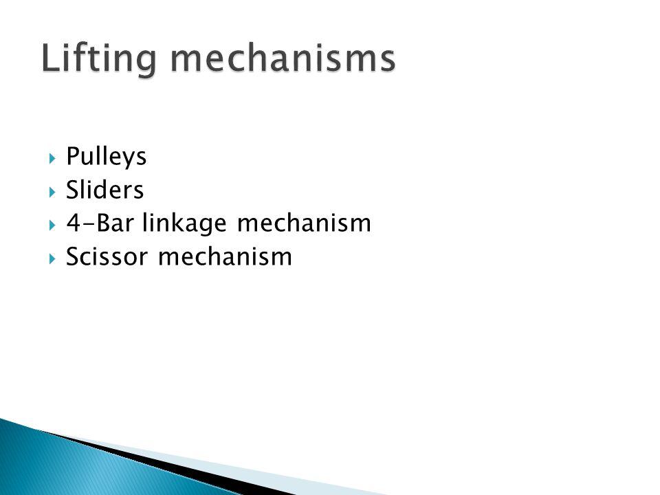 Lifting mechanisms Pulleys Sliders 4-Bar linkage mechanism
