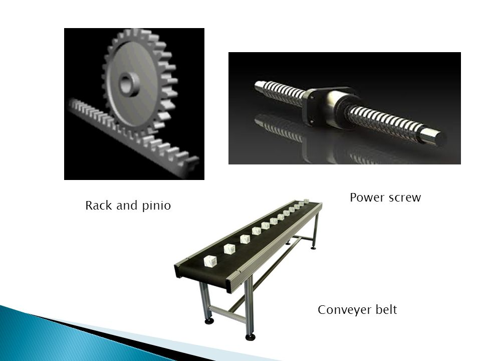 Power screw Rack and pinion Conveyer belt