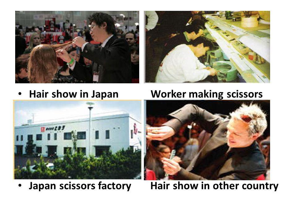 Hair show in Japan Worker making scissors