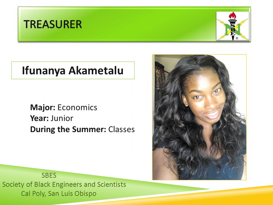 Treasurer Ifunanya Akametalu Major: Economics Year: Junior