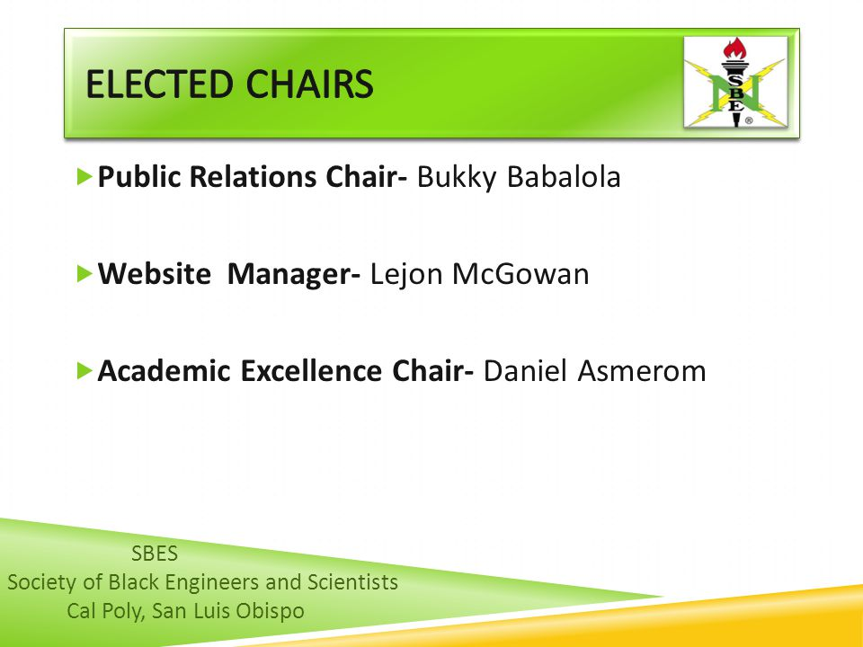 Elected CHAIRS Public Relations Chair- Bukky Babalola