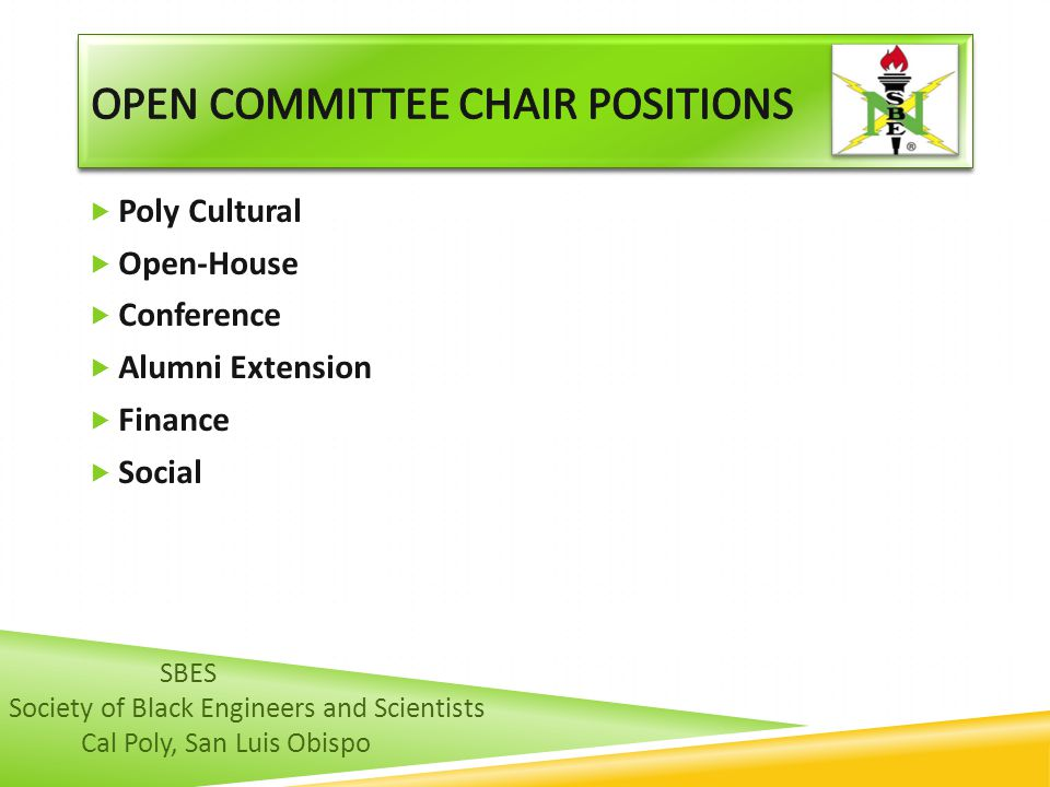 OPEN COMMITTEE CHAIR POSITIONS