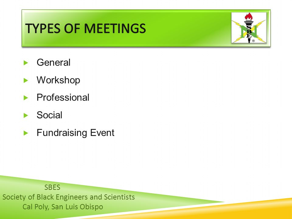 Types of meetings General Workshop Professional Social