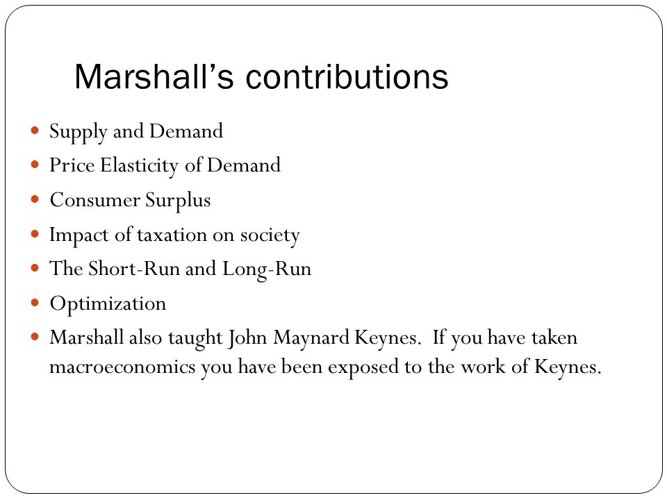 Marshall's contributions