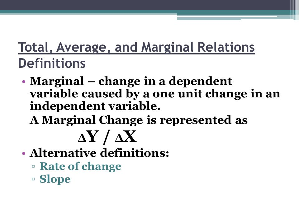 Total, Average, and Marginal Relations Definitions