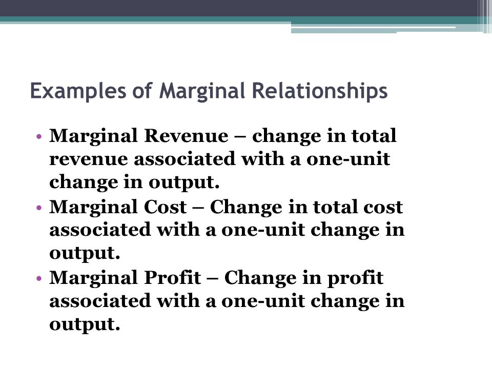 Examples of Marginal Relationships