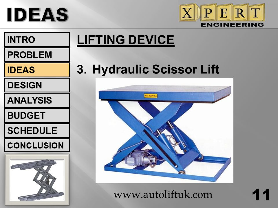 IDEAS LIFTING DEVICE 3. Hydraulic Scissor Lift www.autoliftuk.com