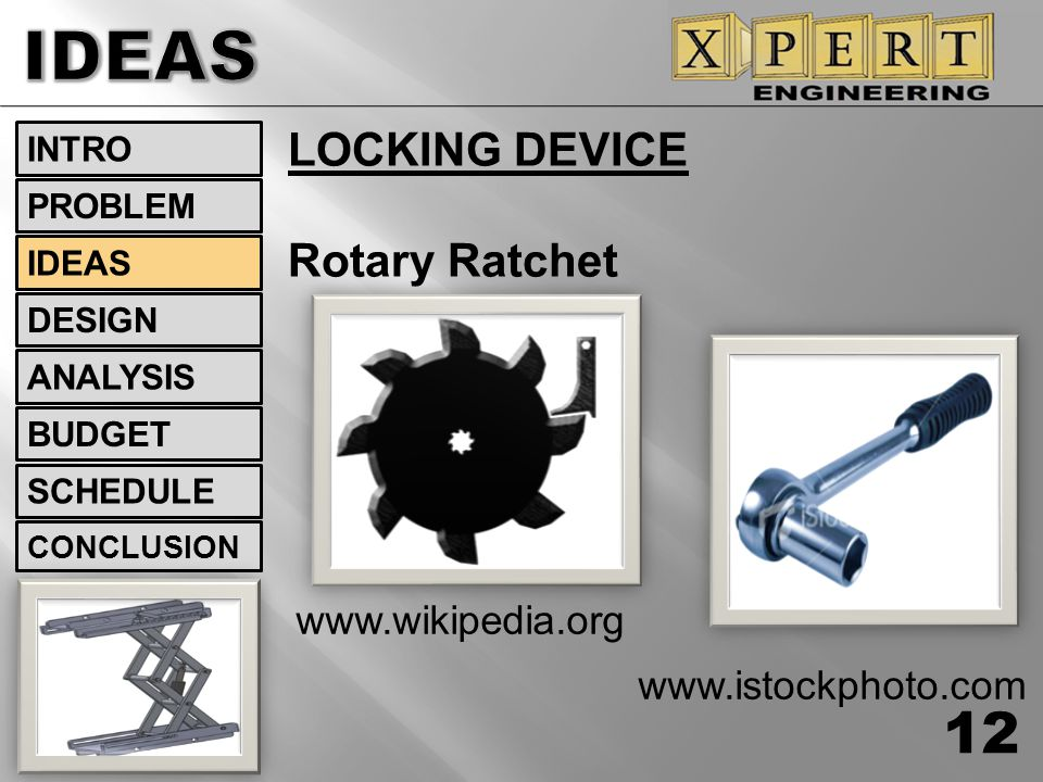 IDEAS LOCKING DEVICE Rotary Ratchet www.wikipedia.org