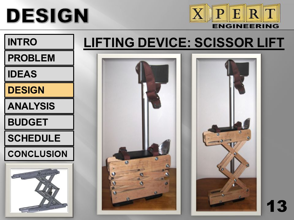 DESIGN LIFTING DEVICE: SCISSOR LIFT INTRO PROBLEM IDEAS DESIGN
