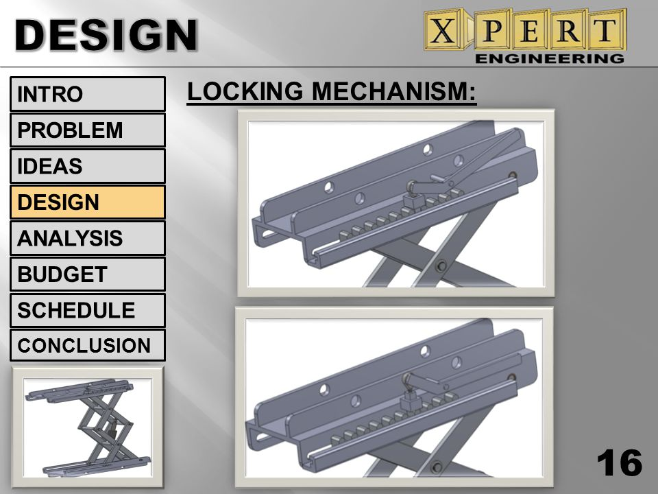 DESIGN LOCKING MECHANISM: INTRO PROBLEM IDEAS DESIGN ANALYSIS BUDGET