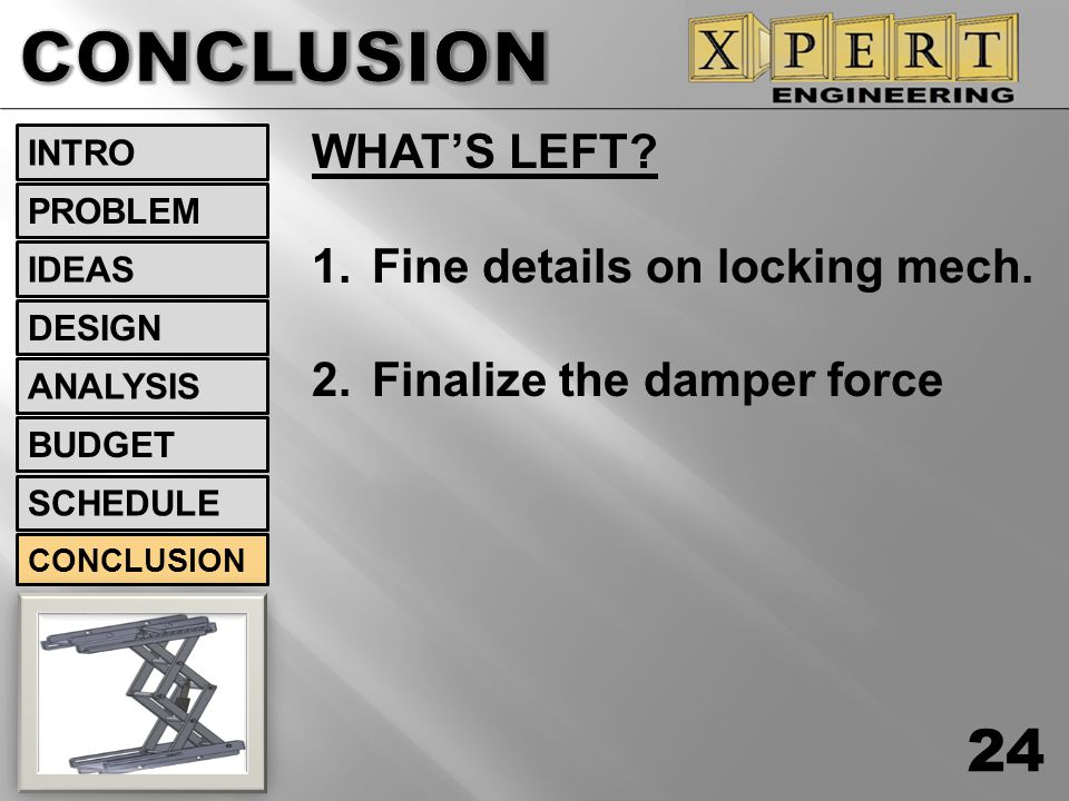 CONCLUSION WHAT'S LEFT Fine details on locking mech.