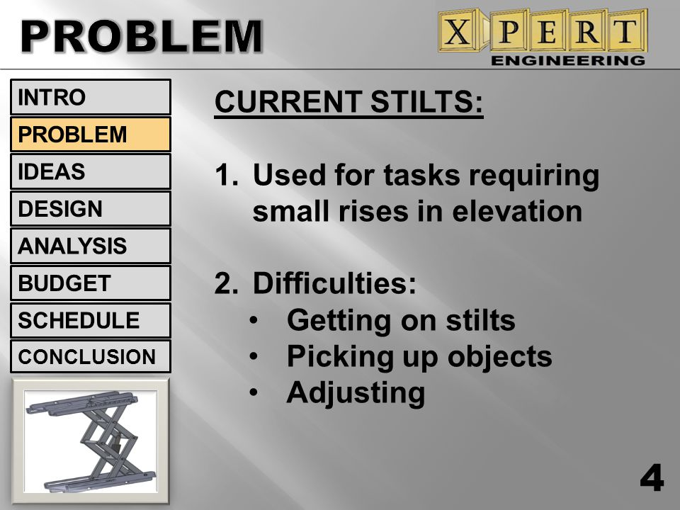 PROBLEM CURRENT STILTS: