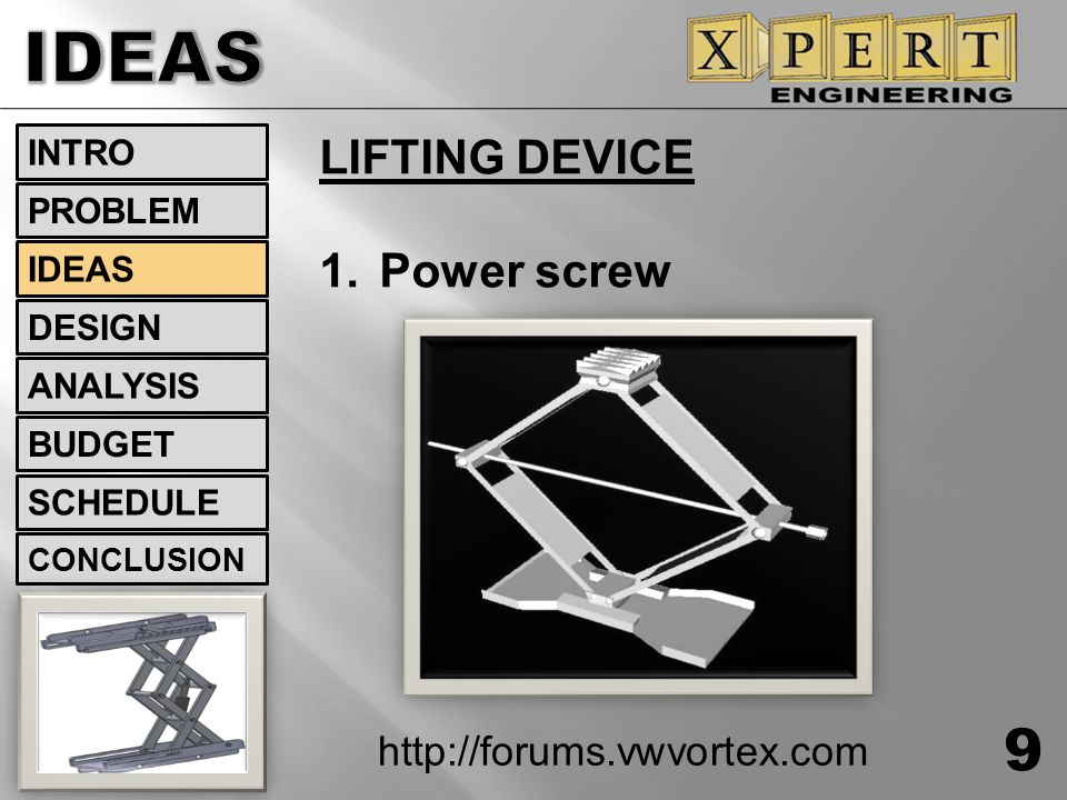 IDEAS LIFTING DEVICE Power screw http://forums.vwvortex.com INTRO