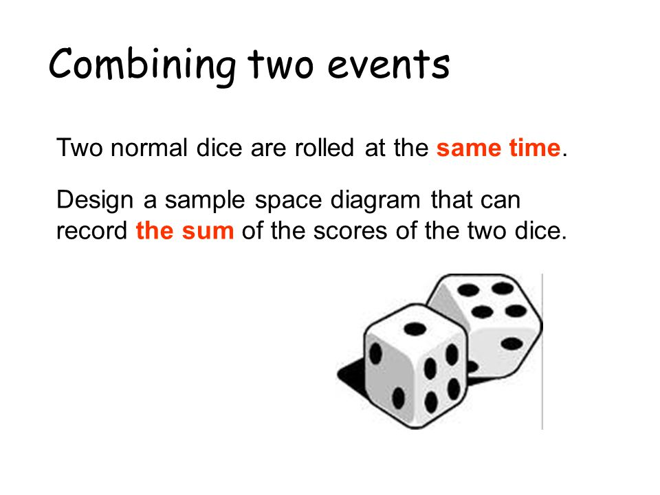 Combining two events Two normal dice are rolled at the same time.
