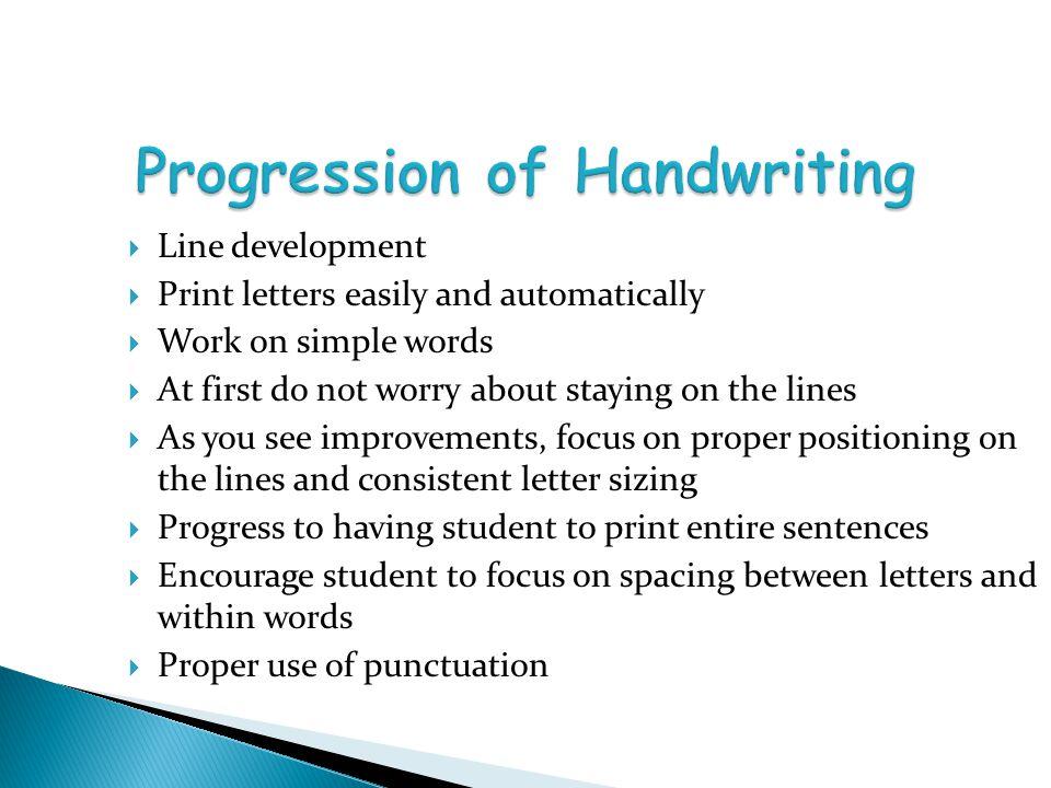 Progression of Handwriting