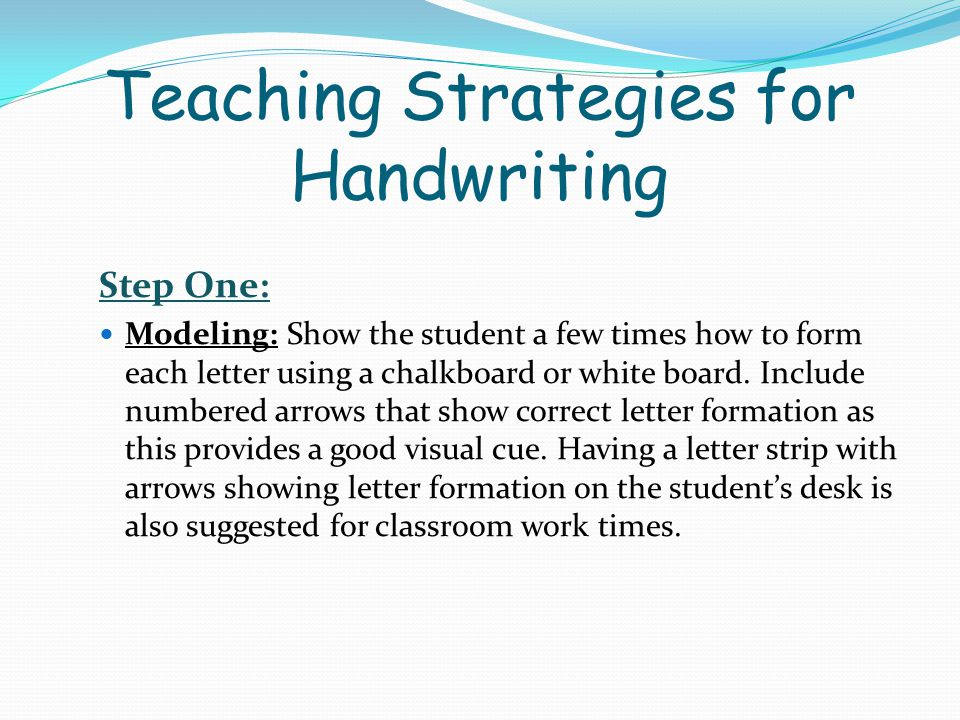 Teaching Strategies for Handwriting