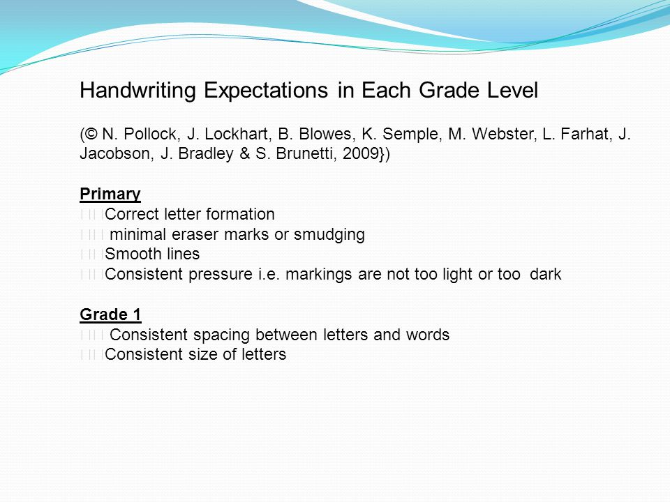 Handwriting Expectations in Each Grade Level