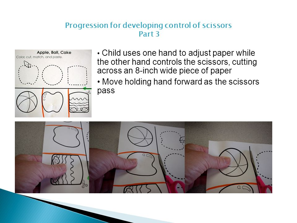 Progression for developing control of scissors Part 3