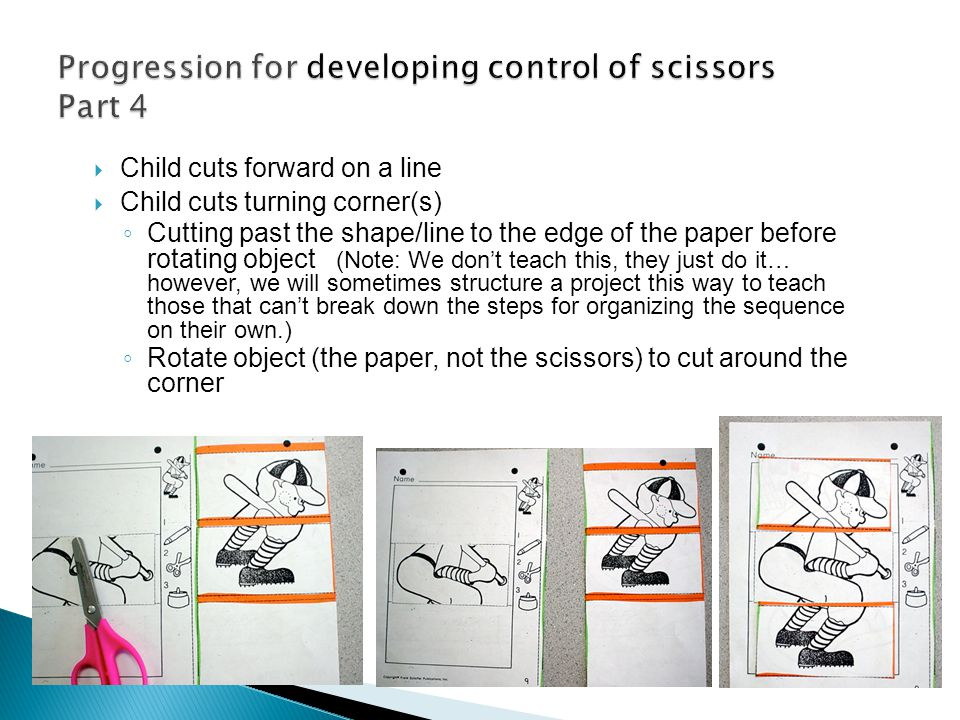 Progression for developing control of scissors Part 4
