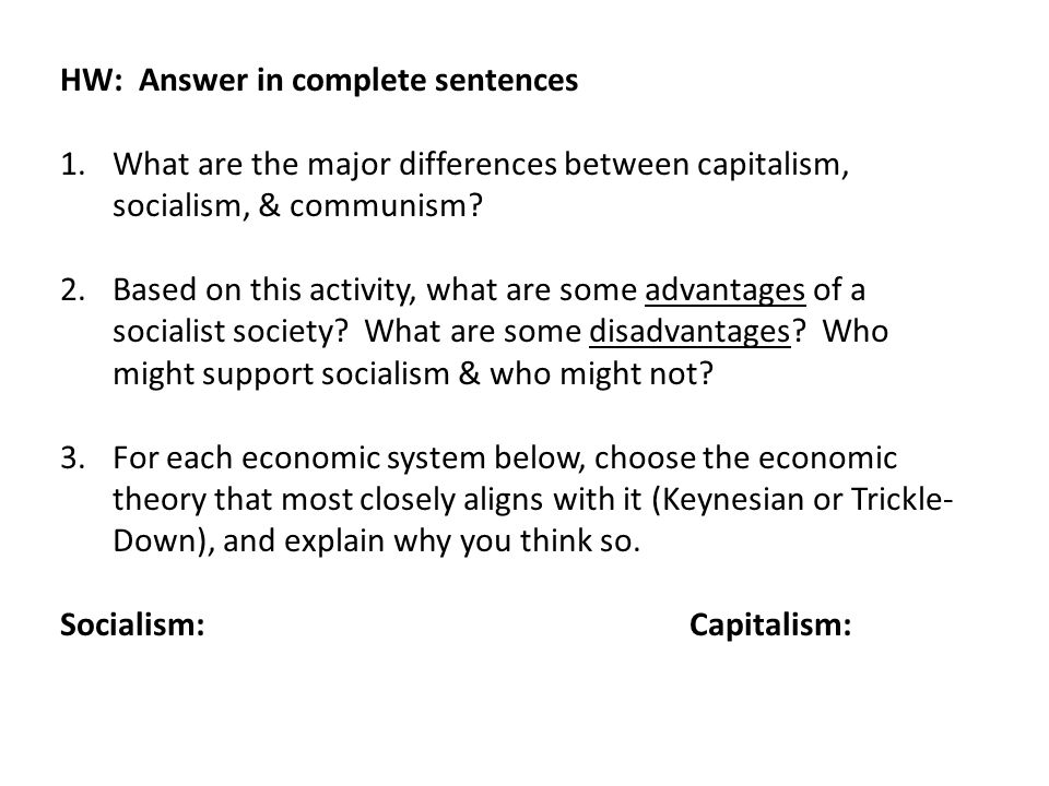 HW: Answer in complete sentences