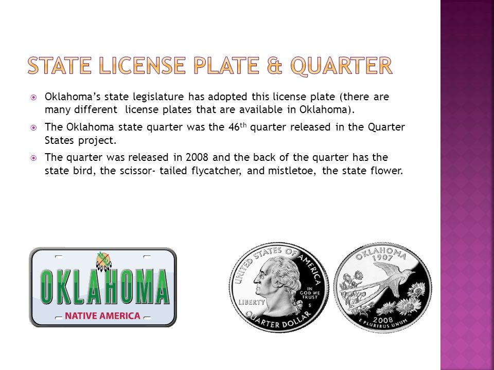 State license plate & quarter