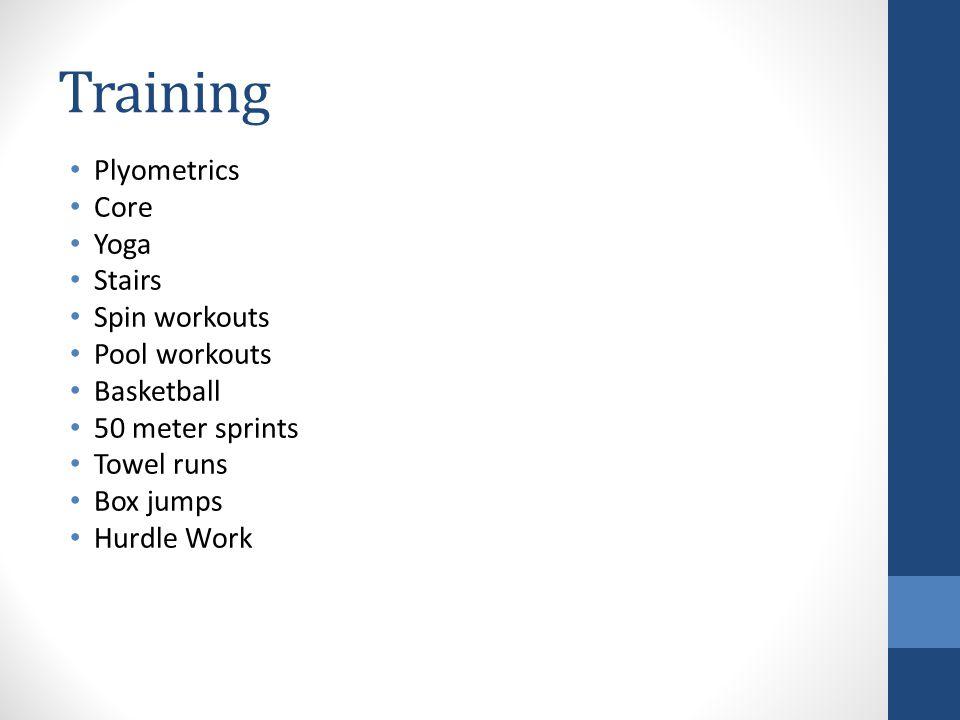 Training Plyometrics Core Yoga Stairs Spin workouts Pool workouts