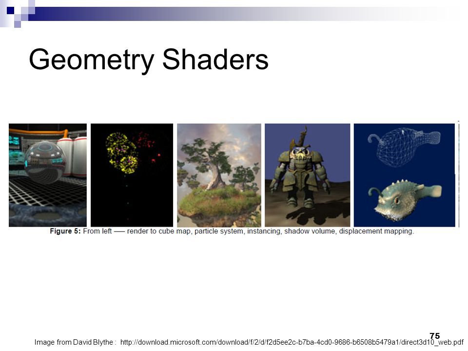 Geometry Shaders Image from David Blythe : http://download.microsoft.com/download/f/2/d/f2d5ee2c-b7ba-4cd0-9686-b6508b5479a1/direct3d10_web.pdf.