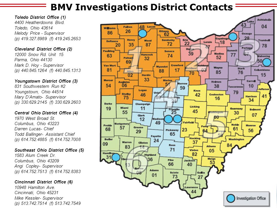 BMV Investigations District Contacts