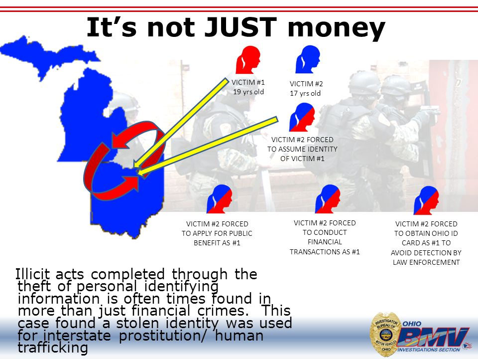 It's not JUST money VICTIM #1. 19 yrs old. VICTIM #2. 17 yrs old. VICTIM #2 FORCED TO ASSUME IDENTITY OF VICTIM #1.