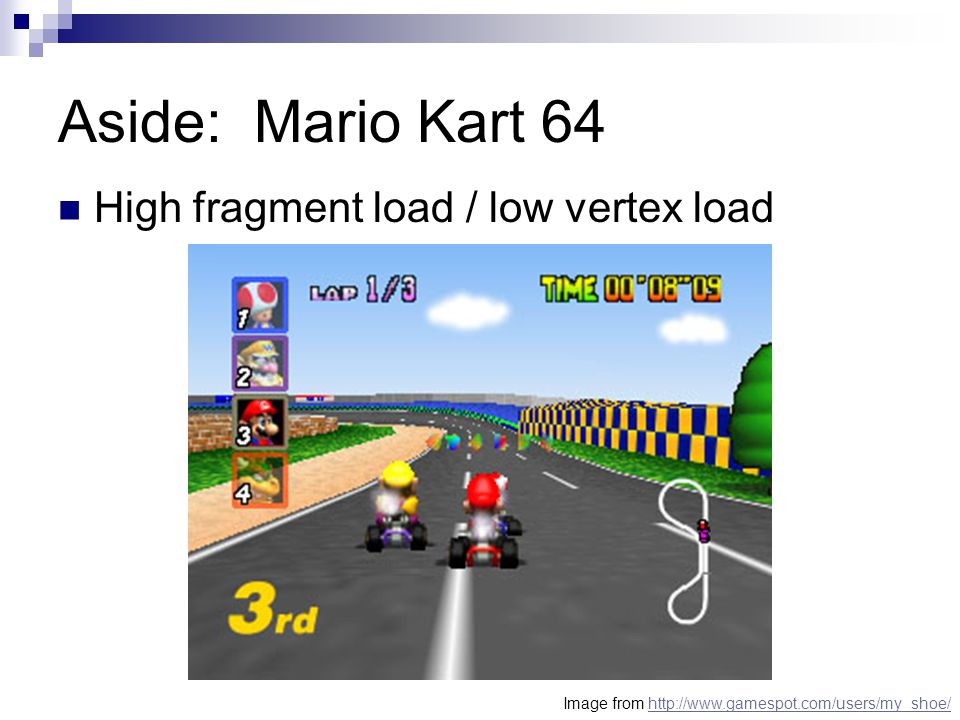 Aside: Mario Kart 64 High fragment load / low vertex load