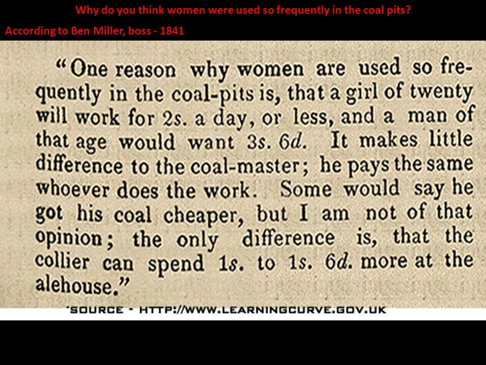 Why do you think women were used so frequently in the coal pits
