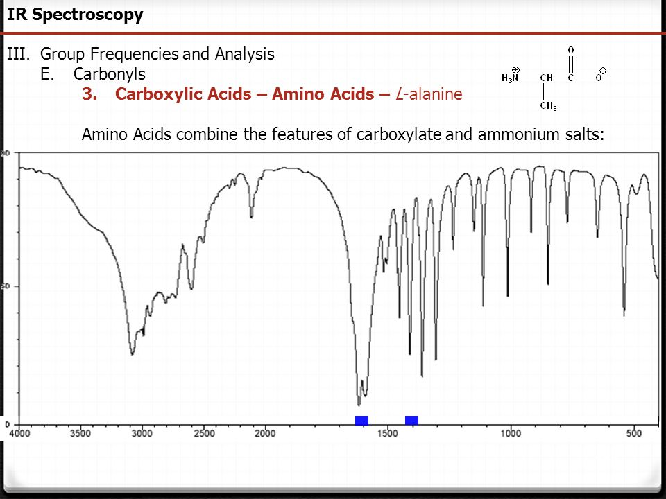 IR Spectroscopy Group Frequencies and Analysis. Carbonyls. Carboxylic Acids – Amino Acids – L-alanine.
