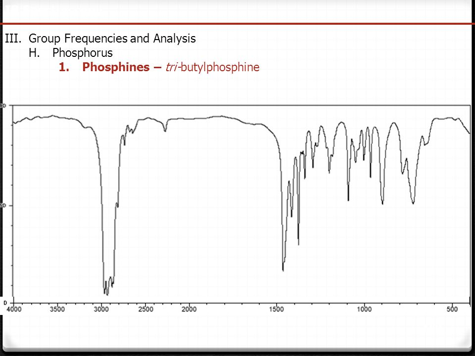 IR Spectroscopy Group Frequencies and Analysis Phosphorus Phosphines – tri-butylphosphine