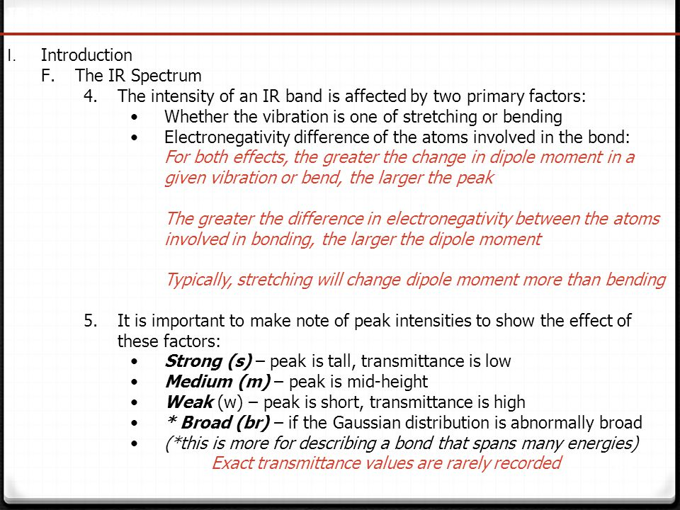IR Spectroscopy I. Introduction. The IR Spectrum. The intensity of an IR band is affected by two primary factors: