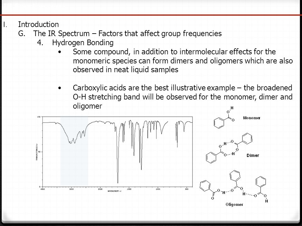 IR Spectroscopy I. Introduction. The IR Spectrum – Factors that affect group frequencies. Hydrogen Bonding.