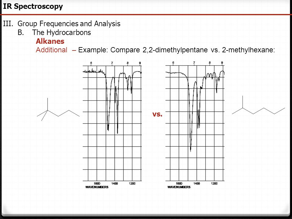IR Spectroscopy Group Frequencies and Analysis. The Hydrocarbons. Alkanes. Additional – Example: Compare 2,2-dimethylpentane vs. 2-methylhexane: