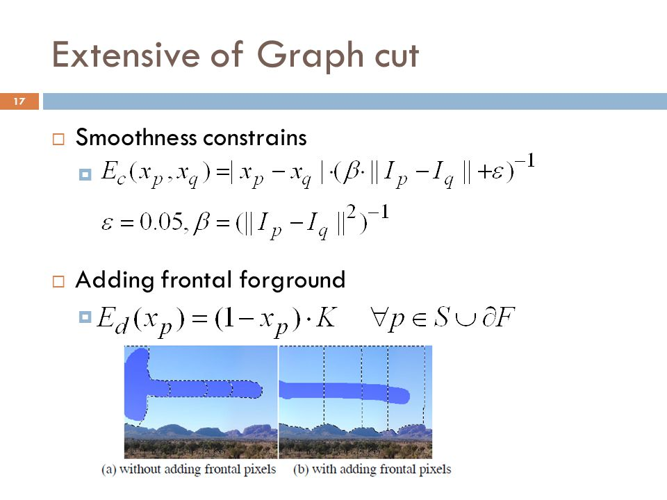 Extensive of Graph cut Smoothness constrains Adding frontal forground