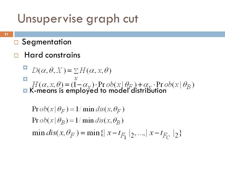 Unsupervise graph cut Segmentation Hard constrains