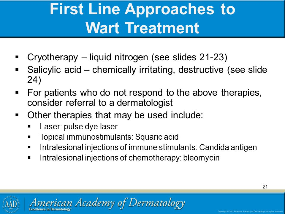 First Line Approaches to Wart Treatment