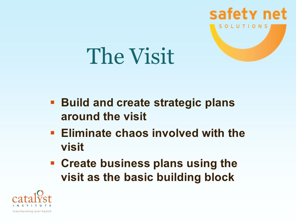 The Visit Build and create strategic plans around the visit