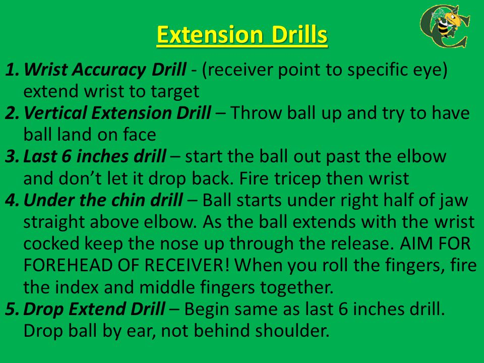 Extension Drills Wrist Accuracy Drill - (receiver point to specific eye) extend wrist to target.