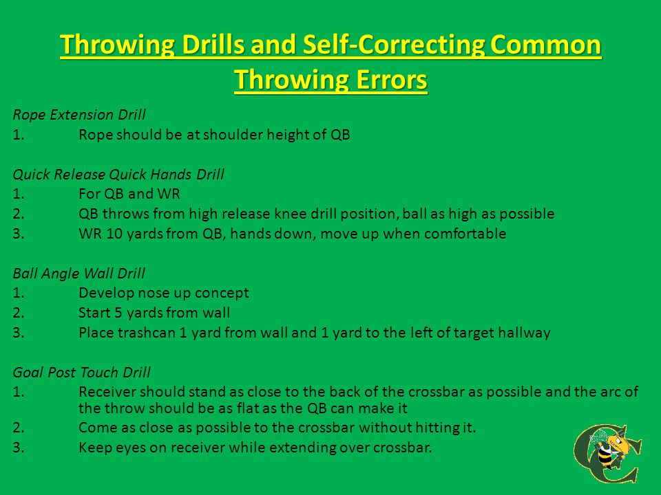 Throwing Drills and Self-Correcting Common Throwing Errors