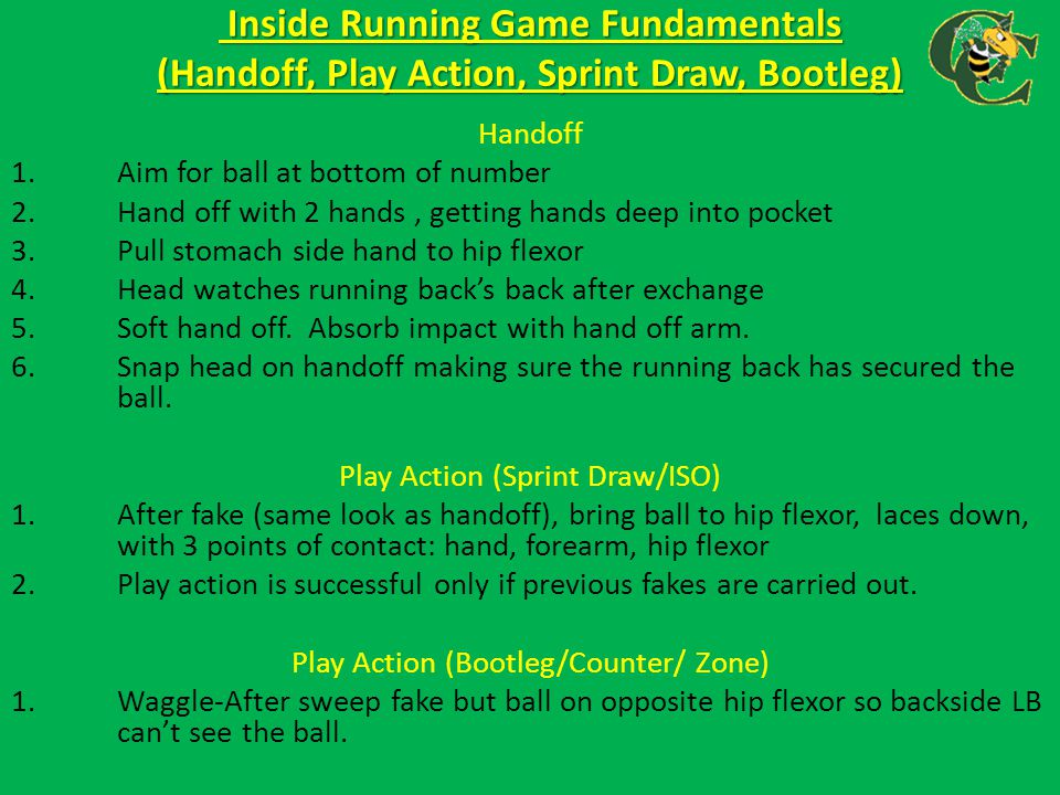 Inside Running Game Fundamentals (Handoff, Play Action, Sprint Draw, Bootleg)