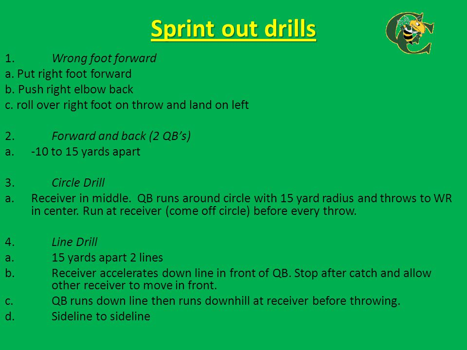 Sprint out drills 1. Wrong foot forward a. Put right foot forward