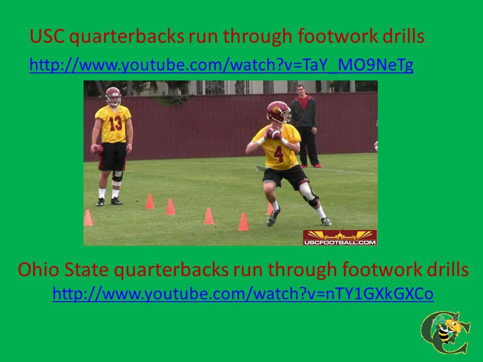 Ohio State quarterbacks run through footwork drills