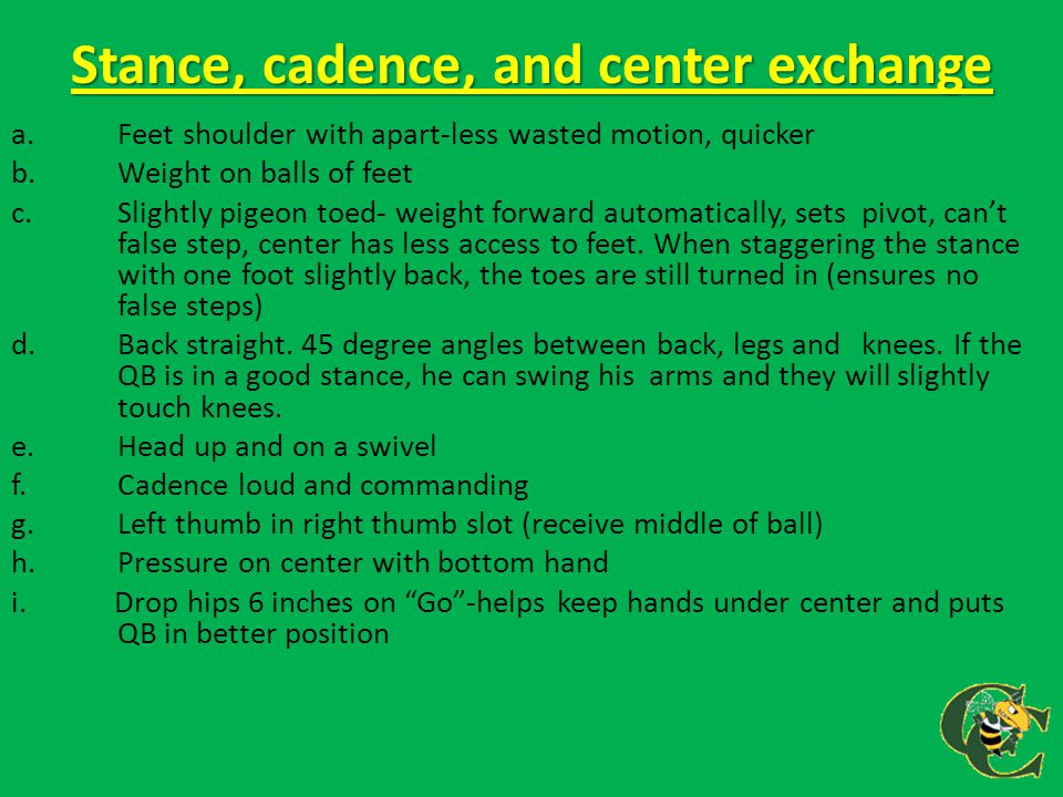 Stance, cadence, and center exchange