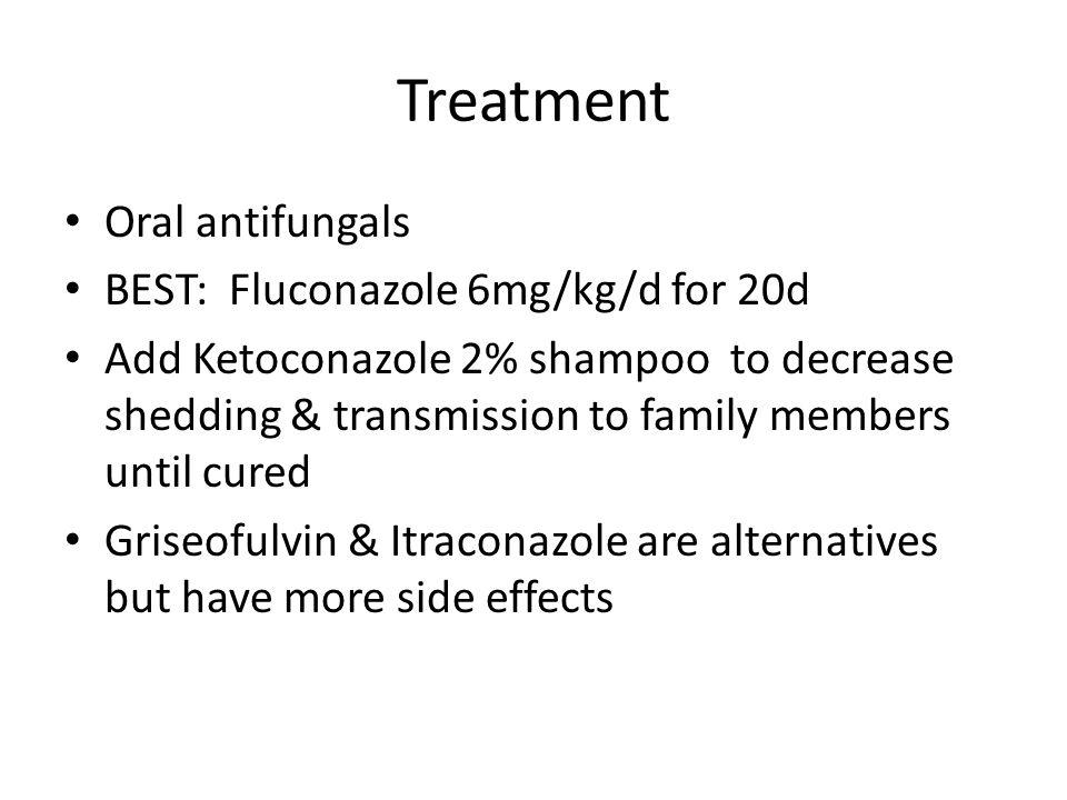 Treatment Oral antifungals BEST: Fluconazole 6mg/kg/d for 20d