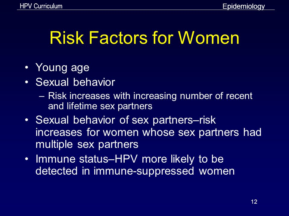 Risk Factors for Women Young age Sexual behavior