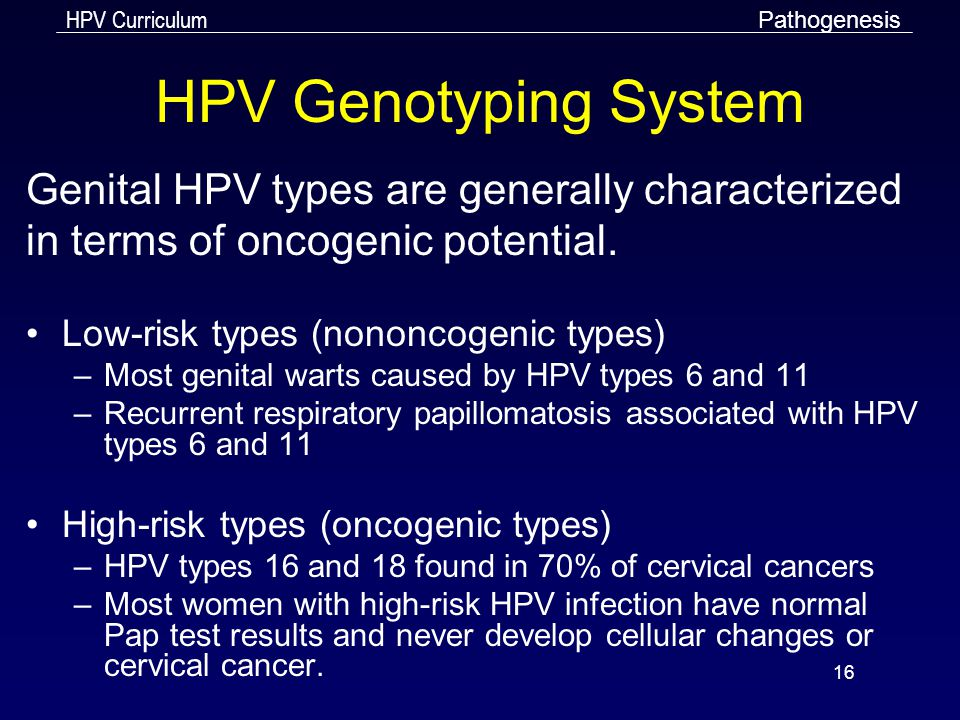 HPV Genotyping System Genital HPV types are generally characterized