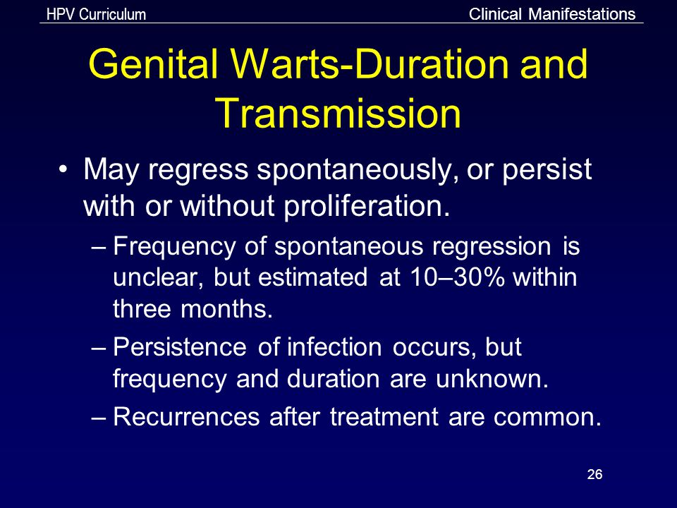 Genital Warts-Duration and Transmission